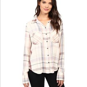 Free People White Plaid Over Sized Button Up Top